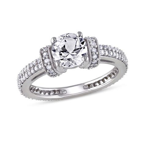6 5mm Lab Created White Sapphire And 1 2 Ct T W Diamond Engagement Ring In 10k White Gold White Gold Engagement Rings