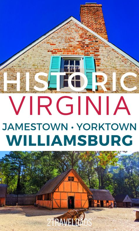 The Historic Triangle of Virginia includes Jamestown, Williamsburg and Yorktown. This guide leads you through all three, including planning hotels and best ticket prices for historic attractions. Williamsburg Virginia, Colonial Williamsburg, Virginia Vacation, Virginia Beach, National Park Passport, National Parks, Virginia Attractions, Jamestown Va, Historic Jamestowne