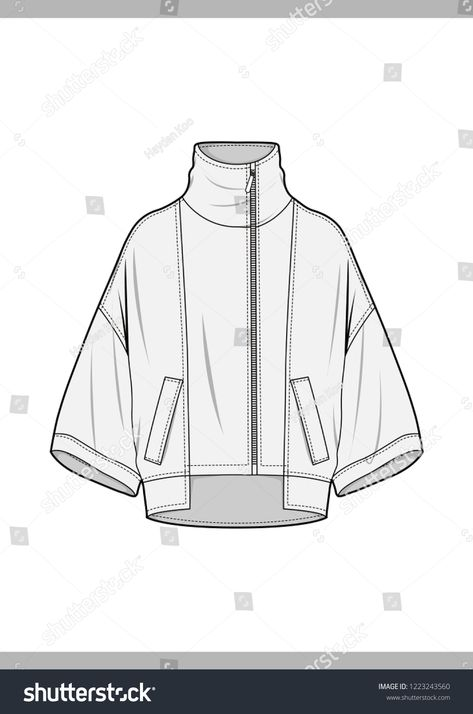 to drawing clothes Outer Fashion Technical Drawings Flat Sketches Stock Vector (Royalty Free) 1223243560