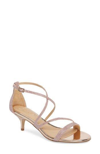 Women S Jewel Badgley Mischka Gal Glitter Kitten Heel Sandal Metallic Kitten Heel Sandals Sandals Heels Womens Wedding Shoes