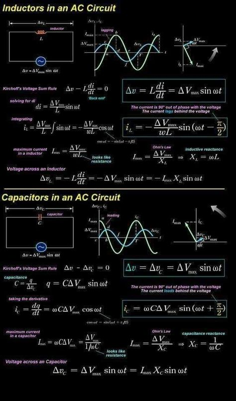 Inductor and capacitor in AC circuit - electrical engineering - Engineering Science, Engineering Projects, Engineering Technology, Electronic Engineering, Electrical Engineering, Energy Technology, Chemical Engineering, Engineering Quotes, Civil Engineering