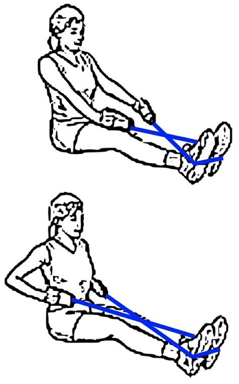 Rowing type exercise using resistance bands can be adapted