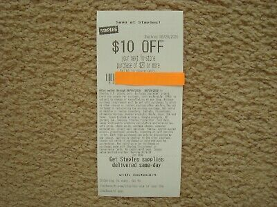 Staples 10 Off 20 In Store Only Coupon Exp 08 29 2020 In 2020 Coupons Staples 10 Off