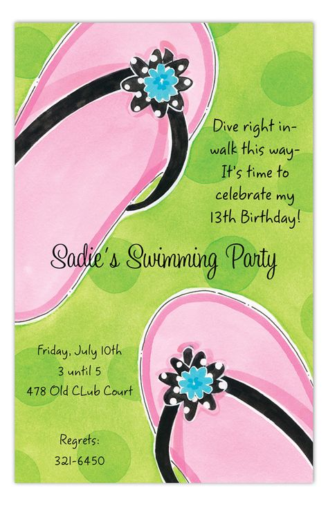 Pink Flip Flops Invitation by Picture Perfect