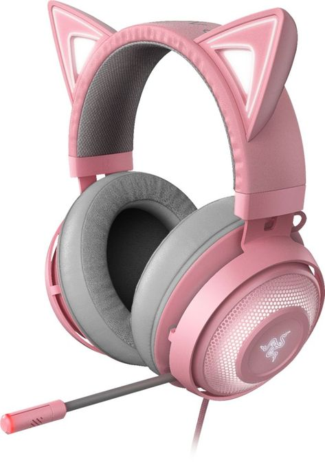 Razer Kraken Kitty RGB USB Gaming Headset: THX Spatial Surround Sound - Chroma RGB Lighting - Retractable Active Noise Cancelling Mic - Lightweight Aluminum Frame - for PC - Quartz Pink Razer Gaming, Best Gaming Headset, Gaming Room Setup, Computer Gaming Room, Gaming Headphones, Pink Headphones, Kawaii Room, Game Room Design, Gamer Room