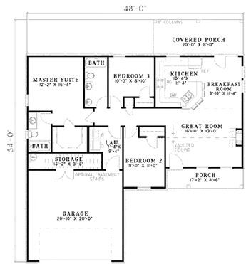 Traditional Style House Plan 3 Beds 2 Baths 1193 Sq Ft Plan 17 656 Garage House Plans Country Style House Plans House Plans