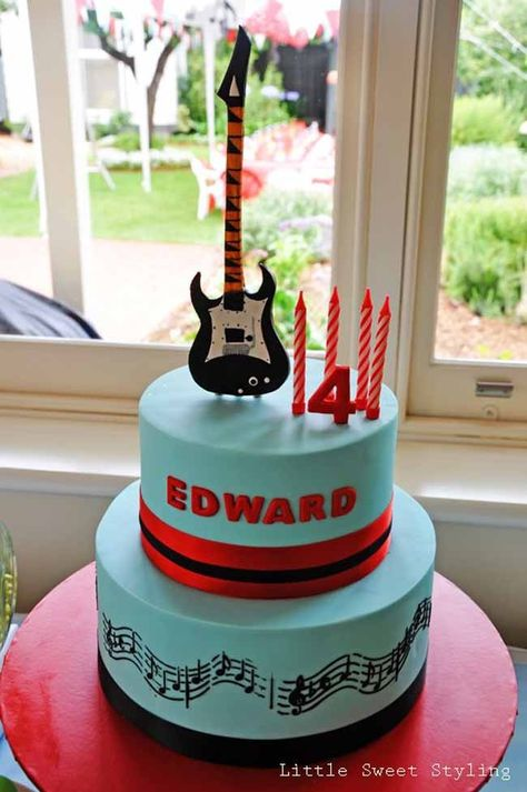 Guitar Rock Star 4th Birthday {Boy Party Ideas} - Spaceships and Laser Beams- The Cake