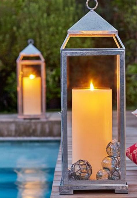 Pretty lanterns with galvanized finish