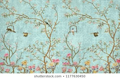3d Wallpaper Design With Little Flowers And Birds For Photomural Floral Wallpaper 3d Wallpaper Design Mural Wallpaper