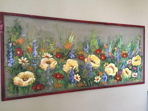Wild flowersspring artwindow screen by RebecaFlottArts on Etsy