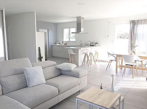 Cuisine ouverte meubles et peinture blanche sur salon gris Cuisine