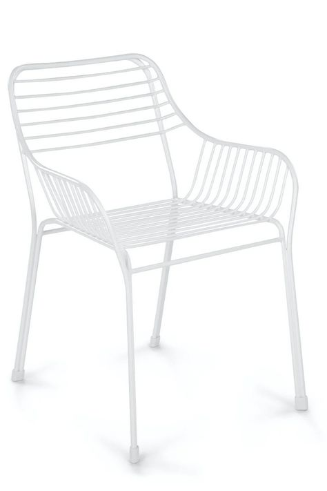 Caya Dahlia White Dining Armchair from @Article beautiful, modern outdoor living space. Article offers high-quality furniture at a great price and is designed to last, plus they're shipping with Contactless Delivery right now to ensure everyone stays safe! #AD
