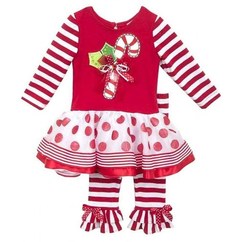 63be7030b Rusty Star Boutique Gifts - Rare Editions Girls Candy Cane Holiday Christmas  Red Top Leggings Set