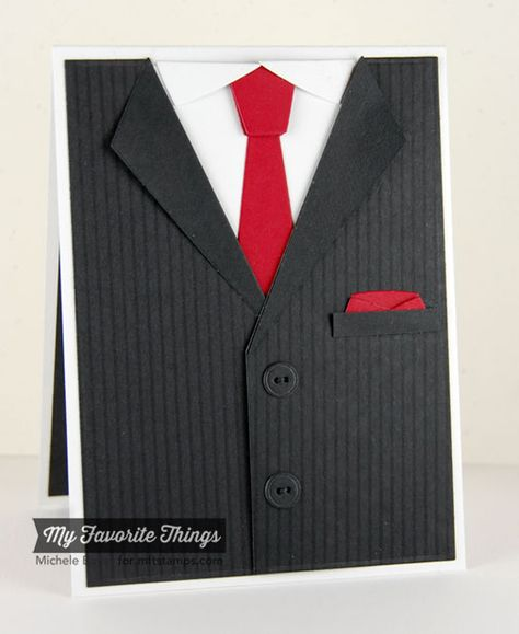Pinstripe Background, Suit and Tie Die-namics - Michele Boyer #mftstamps