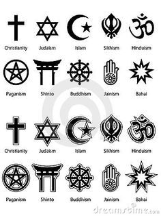 these different religious symbols are the most common symbols you'll come across for the religion it is representing.