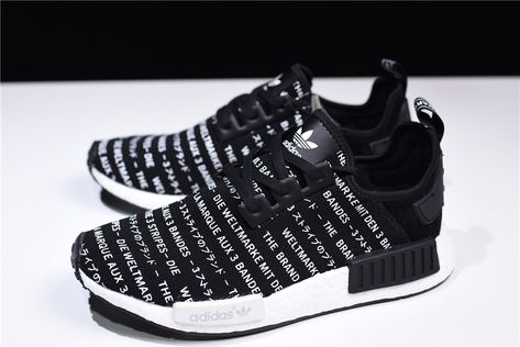 Adidas S76519 NMD R1 3 Stripes Men Core BlackWhite Shoes