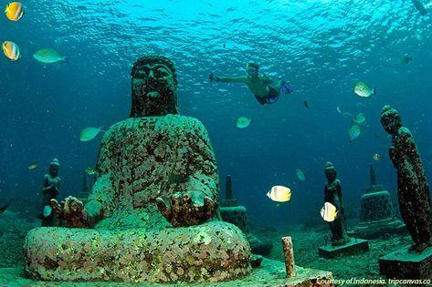 Underwater Pemuteran temple in Bali. Every diver's dream!