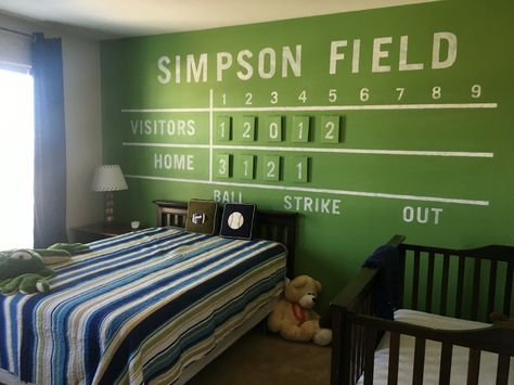 My sons vintage baseball themed room. Custom painted scoreboard wall painted with chalkboard paint and stenciled with chalk paint.