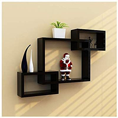 Clearance Sale Deesee Tm Intersecting Boxes Black Red White Decorative Square Wall Shelf Includes Thr Wall Shelves Square Floating Shelves Floating Shelves