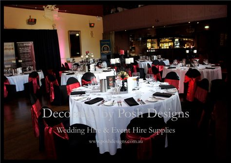 Wedding Chair Covers For Sale Australia The Human Black Lycra Red Satin Sashes White Tablecloths Candelabras All Hire Wide Visit Www Poshdesigns Com Au More Photos And