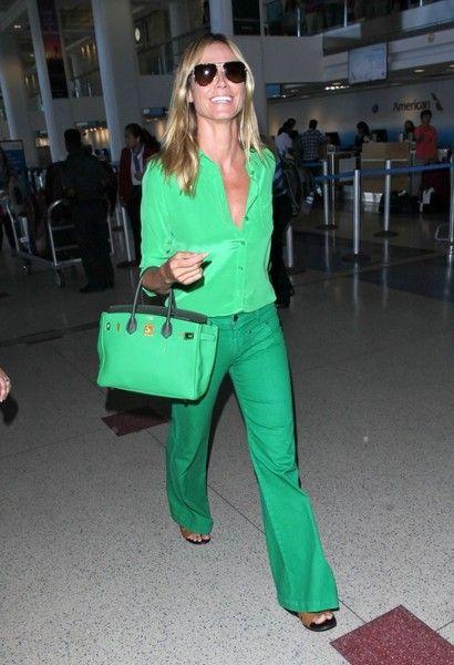 Heidi Klum is seen arriving on a flight at LAX.