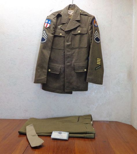 WWII U.S. Army Air Corps 10th  Air Force Officers Uniform Staff Sergeant Far East  (Grandpa Guy was a Staff Sergeant in the10th during WWII).