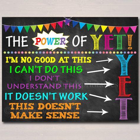 The Power of Yet Printable Poster, Growth Mindset, , Motivational Wall Art, School Office Classroom Decor Teacher Chalkboard