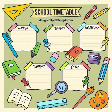 Download Hand Drawn School Timetable Template For Free Papan Kelas Pendidikan Dasar Kegiatan Sekolah