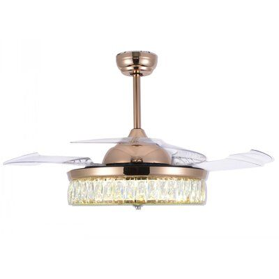 Mercer41 Abella 4 Blade LED Ceiling Fan with Remote, Light