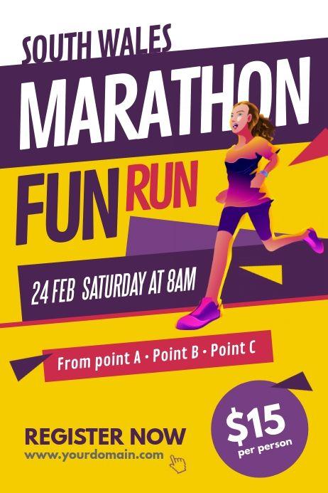 Marathon Run Fun Poster Template Marathon Fundraiser Marathon Posters Fun Run