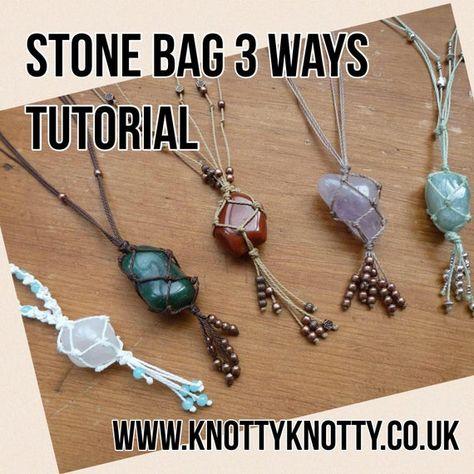 TUTORIAL Macrame Stone Bag / Macrame Net Bag Tutorial / Knotty Knotty Macrame This tutorial will will guide you through the process of creating a macramé style net bag to hold Macrame Colar, Macrame Necklace, Macrame Knots, Micro Macrame, Macrame Jewelry, Diy Necklace, Wire Jewelry, Jewelry Crafts, Pendant Necklace