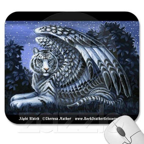 Night Watch Winged White Tiger Mousepad from Zazzle.com