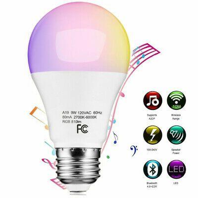 Details About A9 Bluetooth Led Light Bulb 9w E26 Rgb Multi Color
