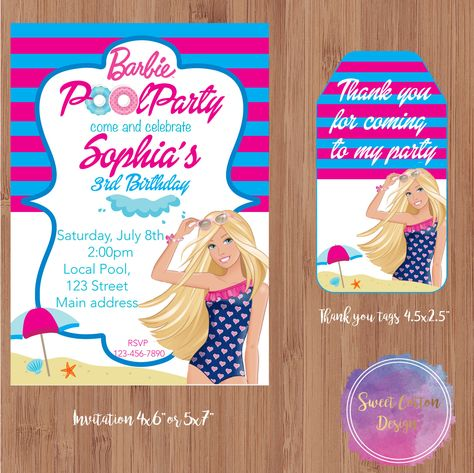 Barbie Pool Party Invitation With Thank You Tags By SweetCottonInc On Etsy