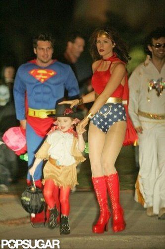 Kate Beckinsale dressed as Wonder Woman along with her husband, Len Wiseman, and daughter Lily Sheen in 2004. Source: Bauer-Griffin Online