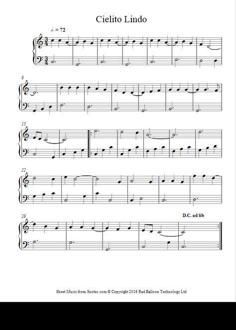 Cielito Lindo Sheet Music For Piano Sheet Music Piano Music
