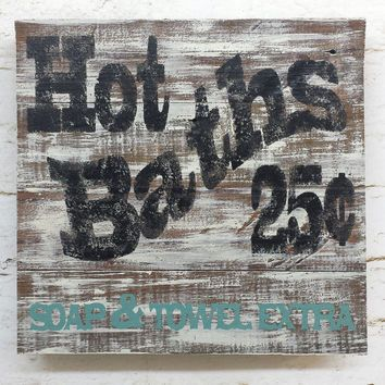 Rustic Shabby Chic Hot Bath Sign Barnwood Distressed Home Decor Cottage  Wall Hanging Reclaimed Antique Vintage Wood Decoration Gift | Pinterest |  Bath Sign, ...
