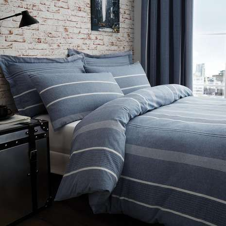 *Louisiana Bedding Grey /& White Pinstripe Duvet Cover Set 200 Thread Count-Doubl