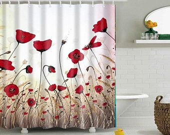 Shower Curtain Etsy Flower Shower Curtain Red Shower Curtains