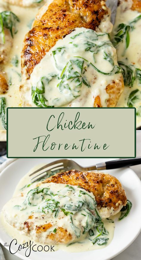 Chicken Florentine, Cooking Recipes, Healthy Recipes, Food Dishes, Main Dishes, Chicken Recipes, Dinner Recipes, Carne, Meals
