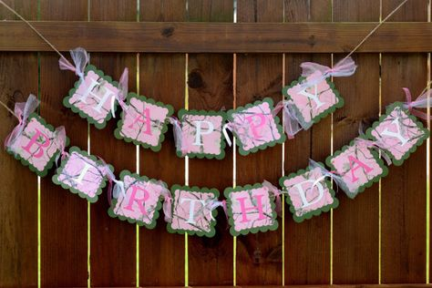 Hello. Thanks for visiting my shop. This is a custom made pink camo birthday banner. Each square measures approximately 6x6 I leave about 2