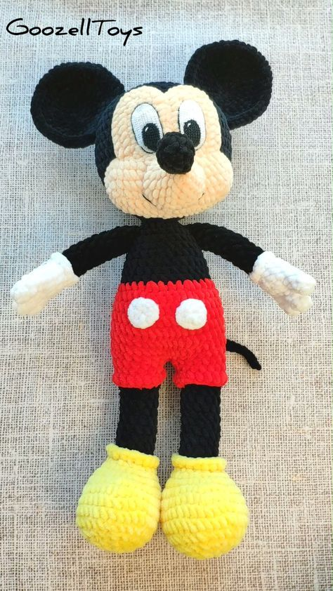 Crochet pattern Mickey Mouse - Amigurumi toy PDF pattern - Disney Toys - Crochet mouse pattern - Plush toys tutorial. Crochet animals pattern. Stuffed Mickey Mouse #amigurumi