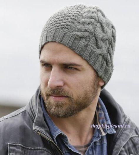 мужская вязаная шапка с аранским узором Knitting Design