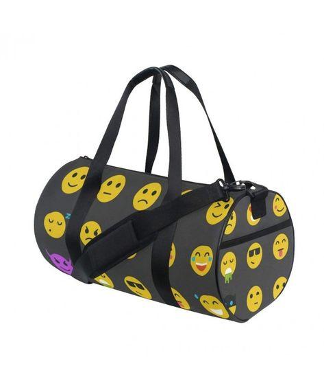 Flat Yellow Emoji Iocn Smiley Face Black Gym bag Sports Travel ... 67500fb6eca29