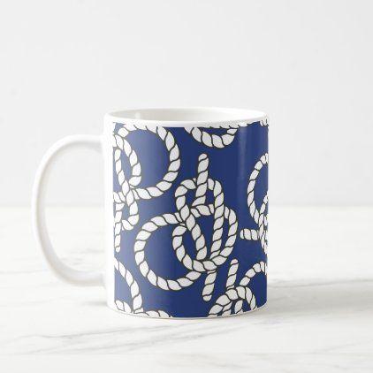 Blue Nautical Knots Coffee Mug Zazzle Com Nautical Blue Blue Coffee Mugs Mugs