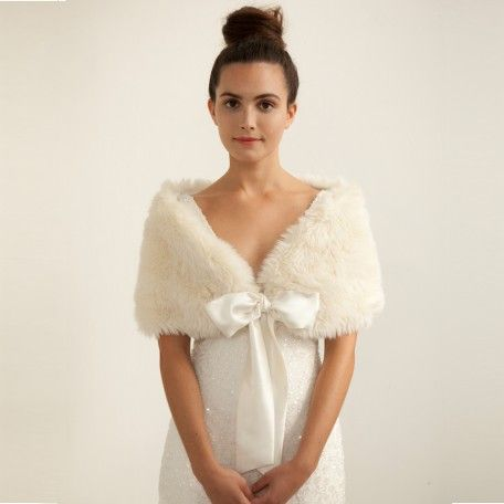 Ivory Faux Fur Bridal Stole With Long Pile Wedding And
