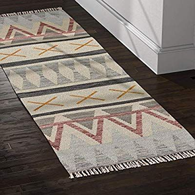 Amazon Com Rivet Southwestern Geometric Wool Runner Rug 2 6 X