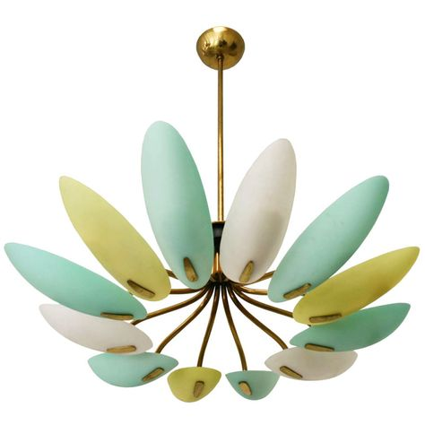 This is adorable! Charming three colored milk glass and brass and enameled 12-arm chandelier. Italian