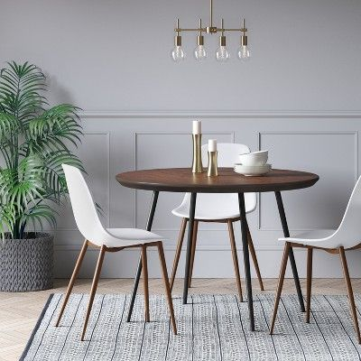 Copley Dining Table Wood Top With Metal Legs Walnut Project 62