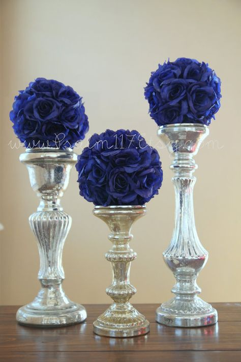 """6  - 6 inch wide - ROYAL BLUE - wedding pomanders -you choose ribbon color - royal navy blue horizon new sapphire marine blue silk flower rose kissing balls pom pom pomander flower girl ball isle decoration reception table toppers - 18 colors available in 3 sizes: 4.5"""" 6"""" and 8"""" pomanders - custom orders welcome! www.Psalm117.Etsy.com"""